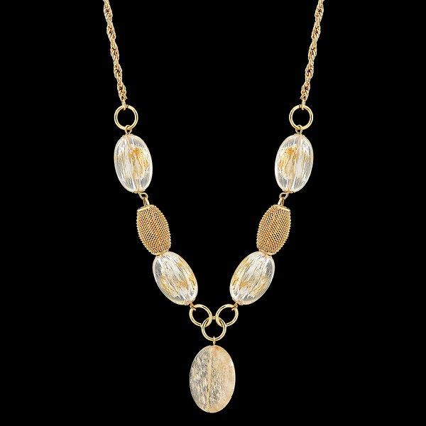 Colar Folheado a Ouro com Acessórios e Pedra Natural Cristal Rutilado