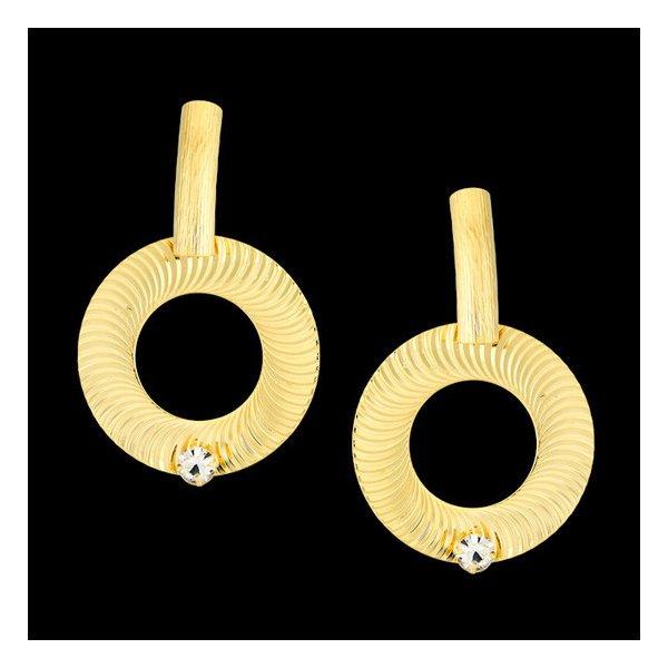 Brinco folheado à ouro 18k com detalhes riscados