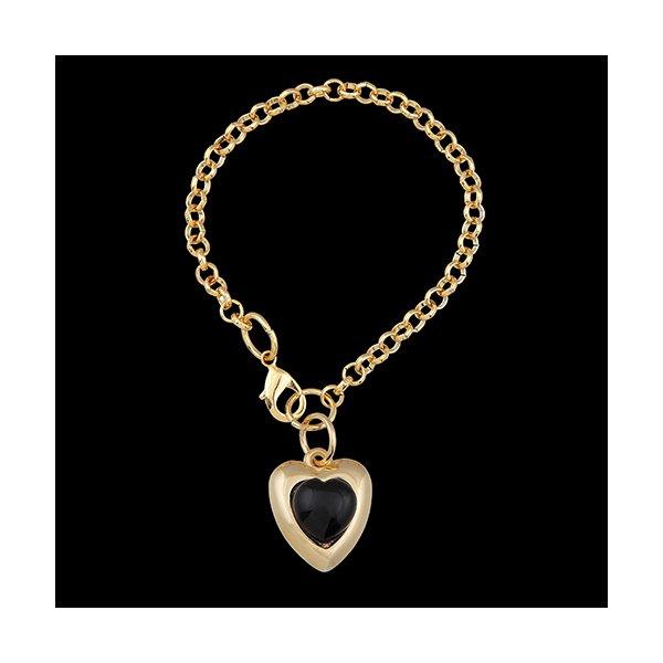 Pulseira Folheada à Ouro Pedra ônix Coração Negro