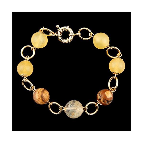 Pulseira Folheada à Ouro com Citrino e Pedras Naturais