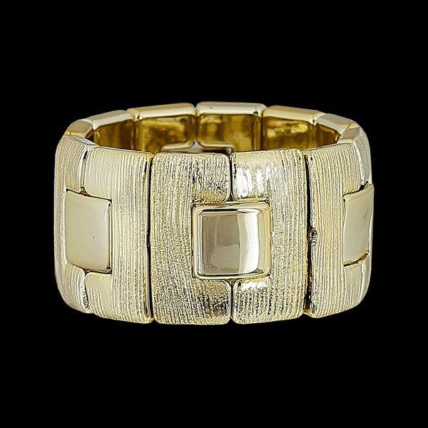 Bracelete Dourado com Detalhes Geometricos