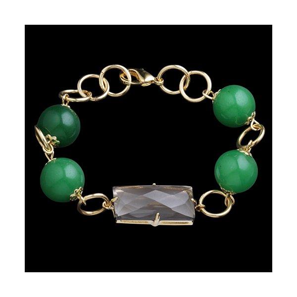 Pulseira Folheada à Ouro Jade Verde