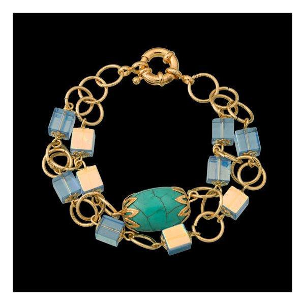 pulseira folheada a ouro 18k,com pedra natural,turquesa,e cristal