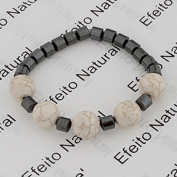 Pulseira Masculina Efeito Natural Hematita e Pedra Turquesa Branca