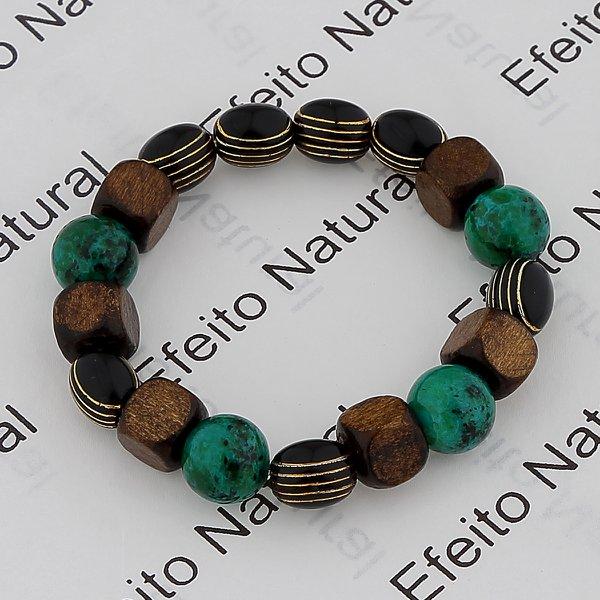Pulseira Masculina Efeito Natural Hematita Pedra Amazonita