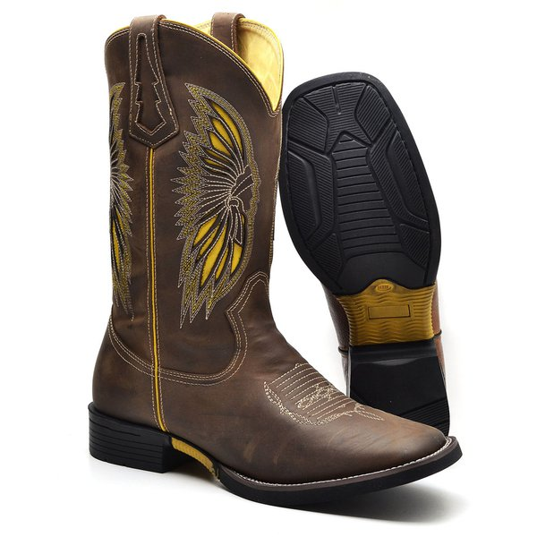 Bota Texana Masculina Índio Coffee