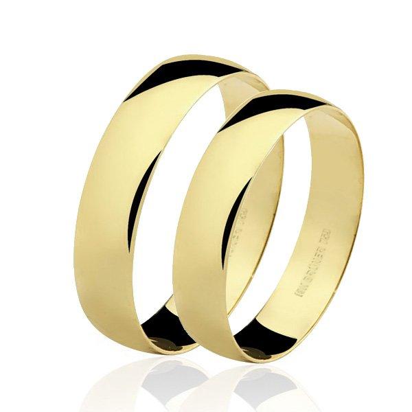 Par de Alianças em Ouro 18K Bruner Larga Tradicional