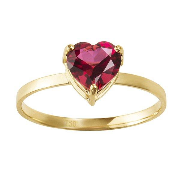 Anel de Coração Vermelho Topázio em Ouro 18K