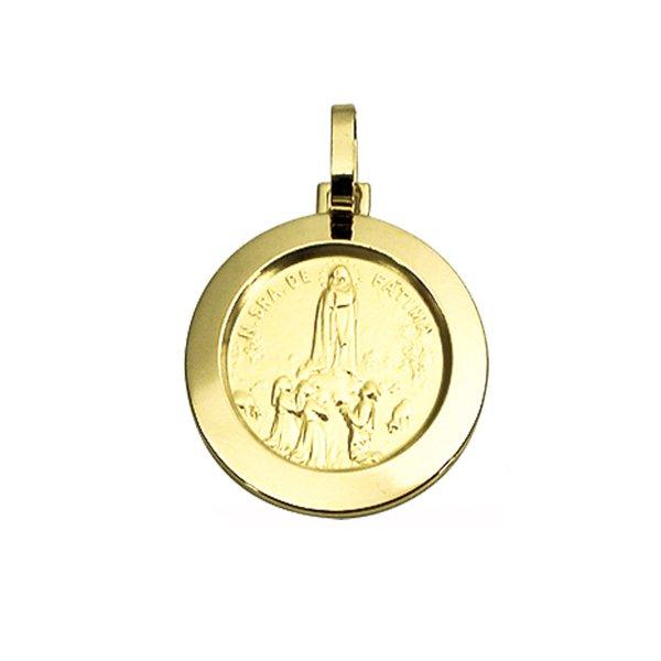 Pingente Medalha Nossa Senhora de Fátima em Ouro 18K