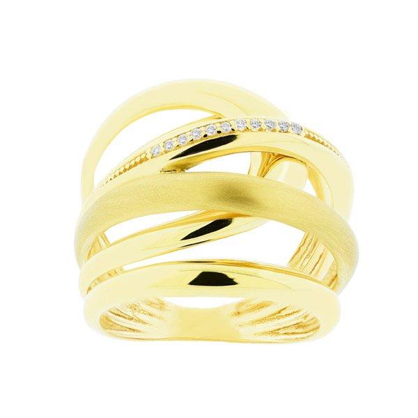 Anel de Ouro 18K Largo com Diamantes