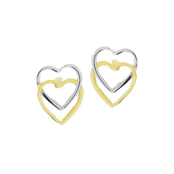 Brinco Corações Entrelaçados Bicolor Ouro 18K