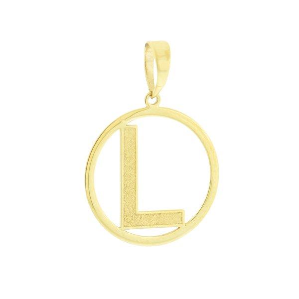 Pingente Letra L com Círculo em Ouro 18K