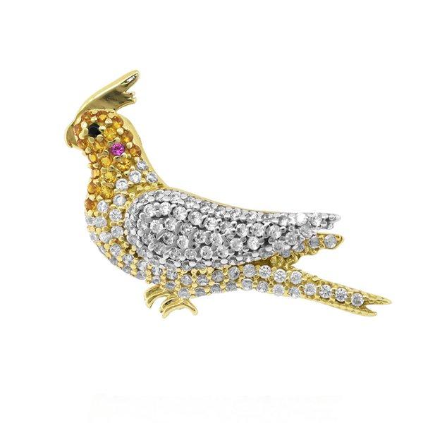 Pingente Pássaro Calopsita com Zircônias em Ouro 18K