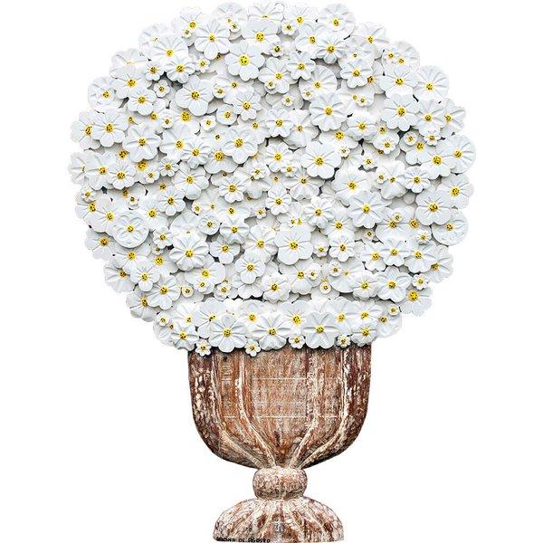 Painel Grande de Ânfora Alta com Flores Brancas