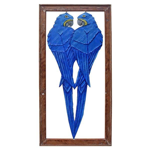 Quadro Vazado Casal de Araras Azuis