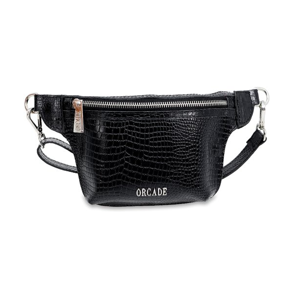 Belt Bag em Couro Croco Preta