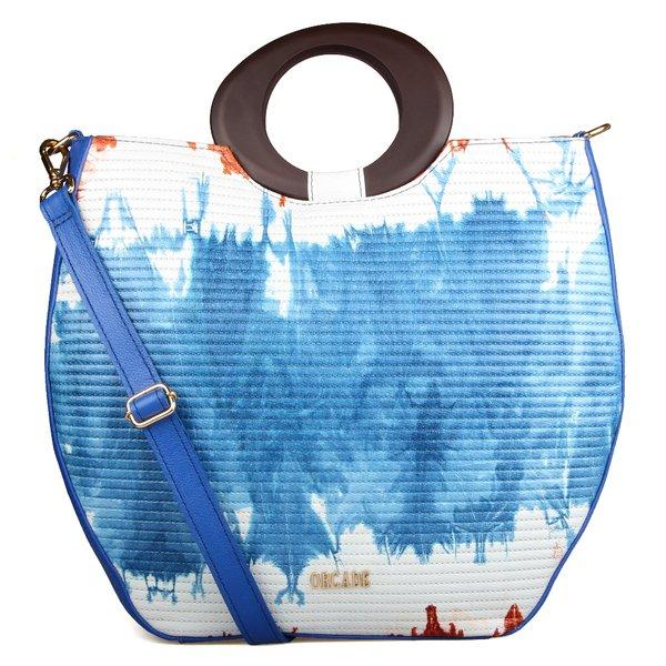 Tote Estruturada em Couro Com Alça Oval Tie Dye Azul/ Branco / Mel