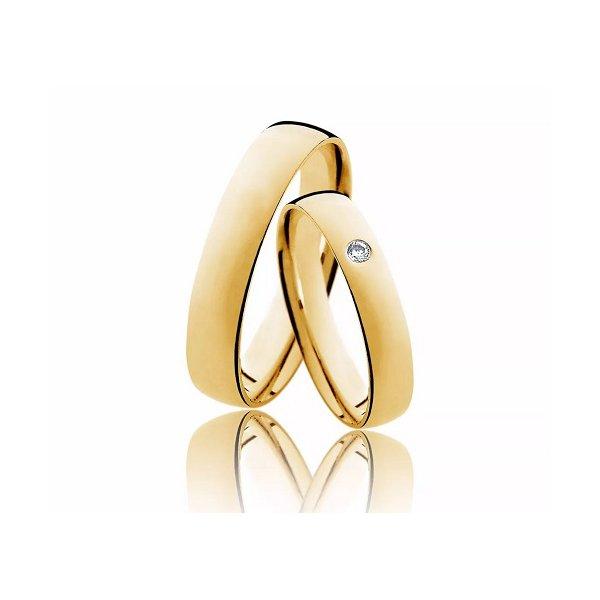 Aliança Diamante em Ouro 18k