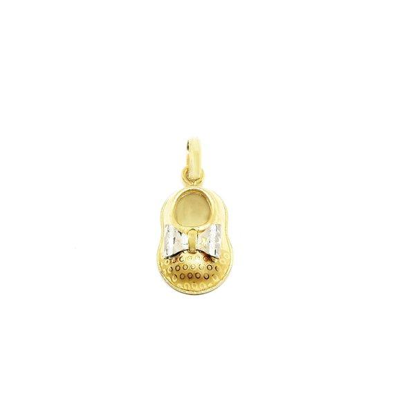Pingente Sapatinho e Laço em Ouro 18k