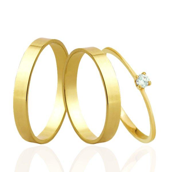 Aliança de Ouro + Anel Solitário Ouro 18k