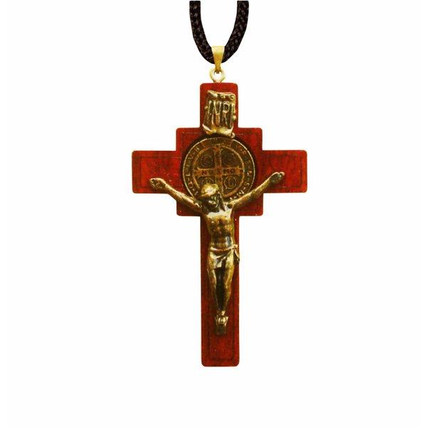 Cordão com Cruz São Bento Madeira 6,7x4cm