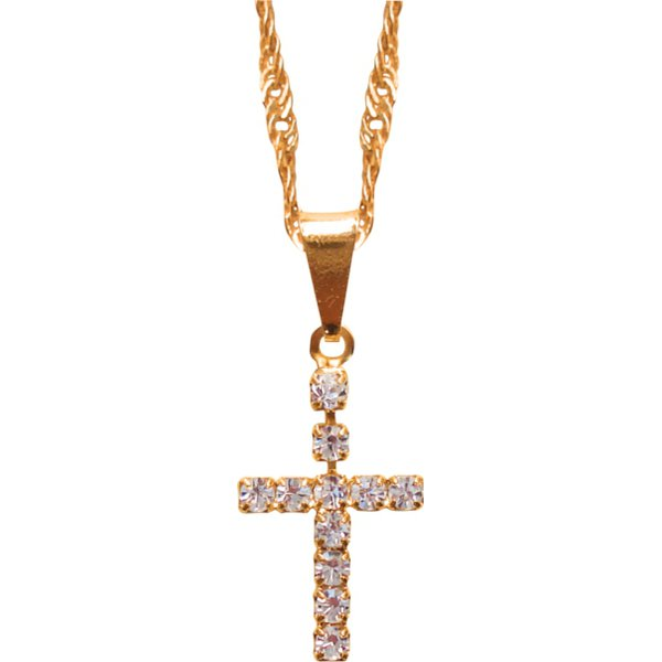 Corrente Folhada a Ouro com Crucifixo Strass 2x1.2cm