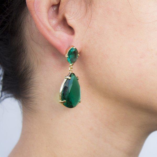 Brinco Gota Banho de Ouro 18k Cristal Verde Esmeralda base Oval em Cristal Verde Esmeralda
