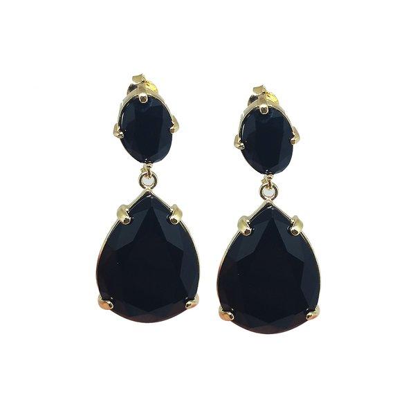 Brinco Gota Banho de Ouro 18k Cristal Negro base Oval em Cristal Negro