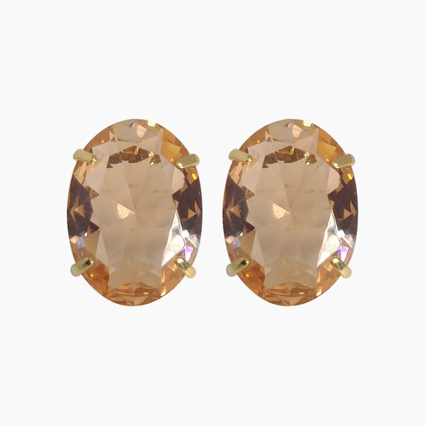 Brinco Oval Banho de Ouro 18k Cristal Champanhe