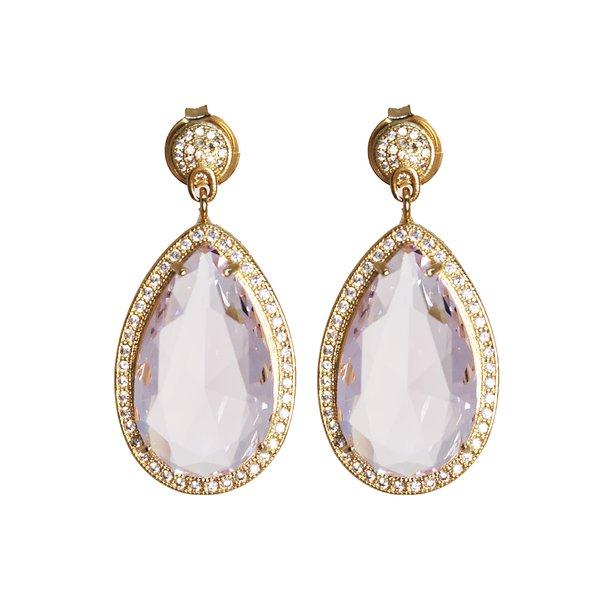 Brinco Gota Banho de Ouro 18k Cristal Rosa Com zircônias de Cristal