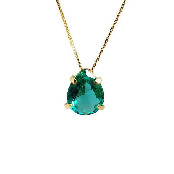 Pingente Gota Banho de Ouro 18k Cristal Verde Esmeralda com Corrente Veneziana