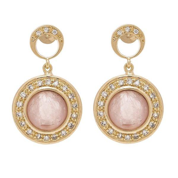 Brinco Redondo Semijoia Banho de Ouro 18K Pedra Natural Quartzo Rosa Cravação de Zircônia