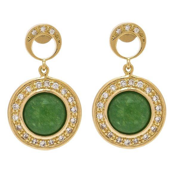 Brinco Redondo Semijoia Banho de Ouro 18K Pedra Natural Jade Verde Cravação de Zircônia