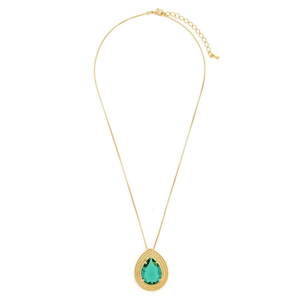 Colar Pingente Gota Semijoia Banho de Ouro 18K Cristal Verde Esmeralda