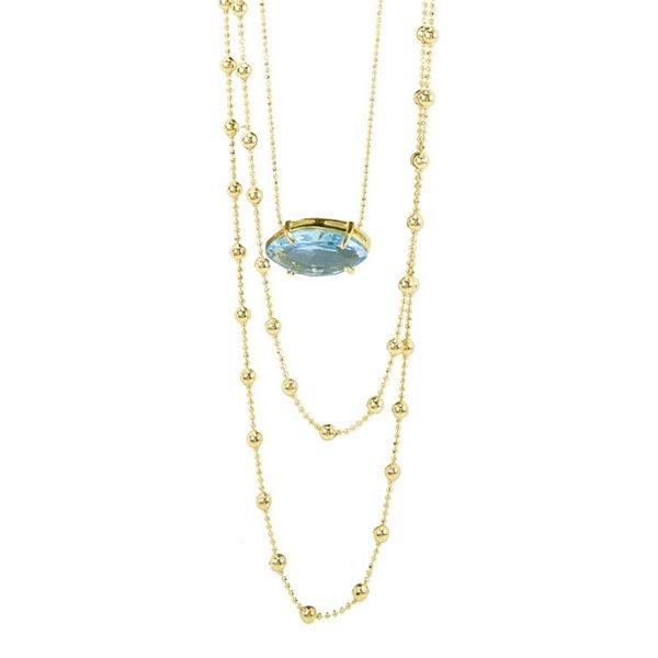 Colar Três Correntes Semijoia Banho de Ouro 18K Cristal Azul