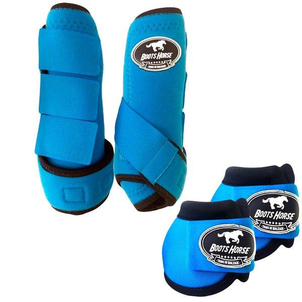 Kit Simples Color Boots Horse Cloche e Caneleira - Azul Turquesa