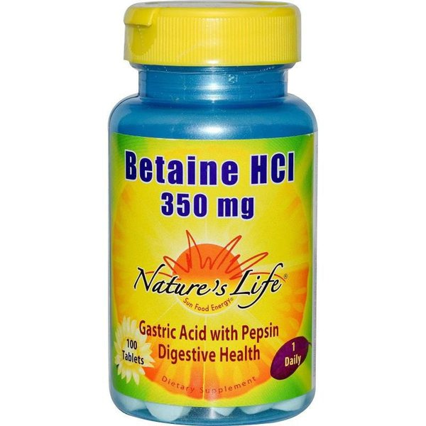 Betaina HCL - Nature`s Life - 350 mg - 100 Tablets