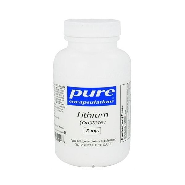 Lithium(Lítio) Orotato, Pure Encapsulations, 5 mg, 180 Capsulas