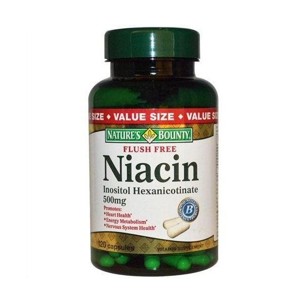 Niacina, Não-Flush, Nature`s Bounty, 500 mg, 120 Capsules