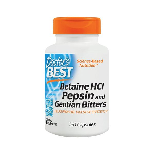 Betaina HCl Pepsina & Gentian Bitters - Dr. Best- 120 cápsulas