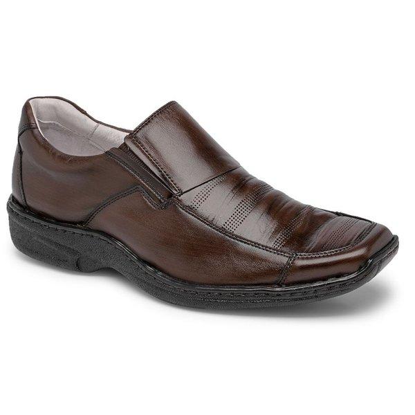 Sapato Conforto Em Couro Cor Pinhão Ref. 442-821