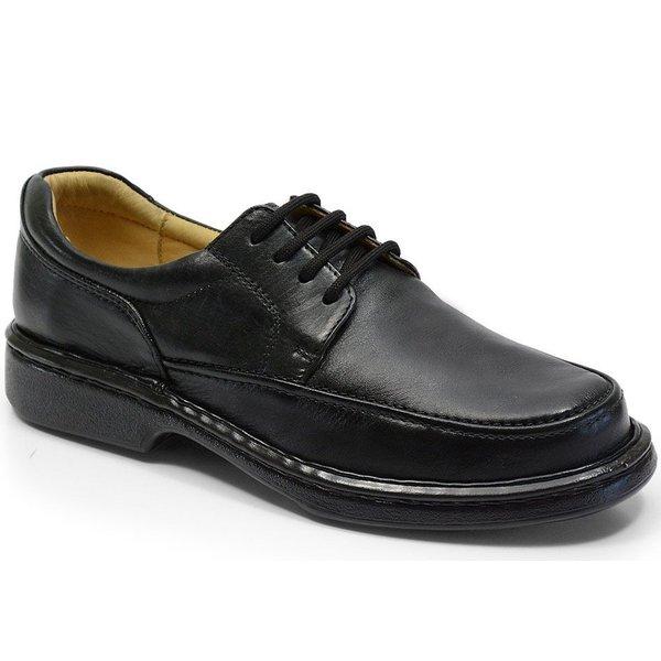 Sapato Conforto Em Couro Cor Preto Ref. 671-2002