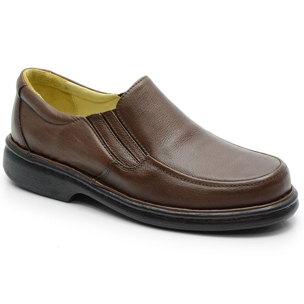 Sapato Conforto Em Couro Marrom Ref. 583-606