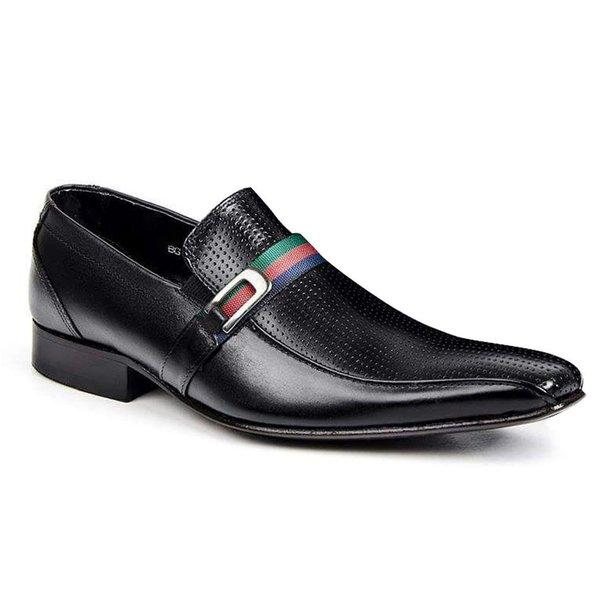 Sapato Social Classic Detalhado Tipo Italiano Em Couro Preto 1275-329