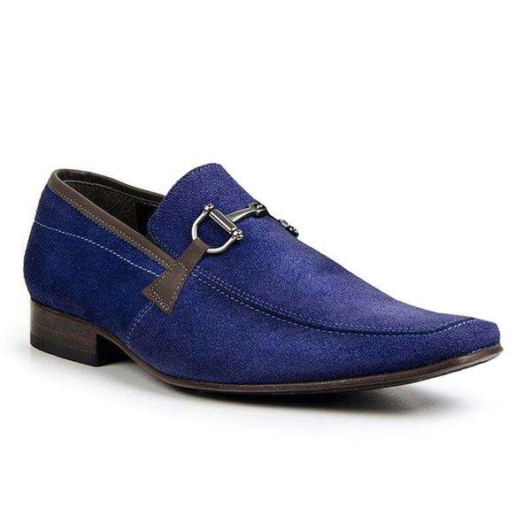 Sapato Social Classic Italiano Em Couro Na Cor Azul Royal 1266-404