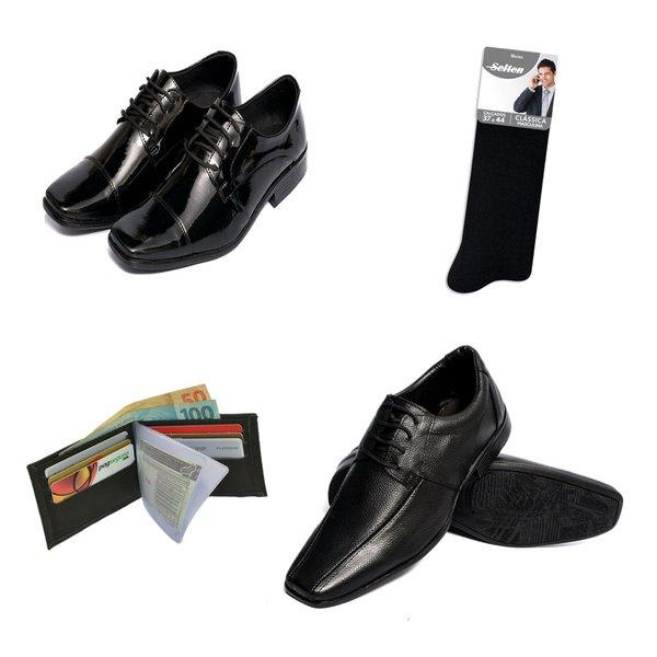 Kit 2 Sapatos Sociais + Carteira e Meia De brinde