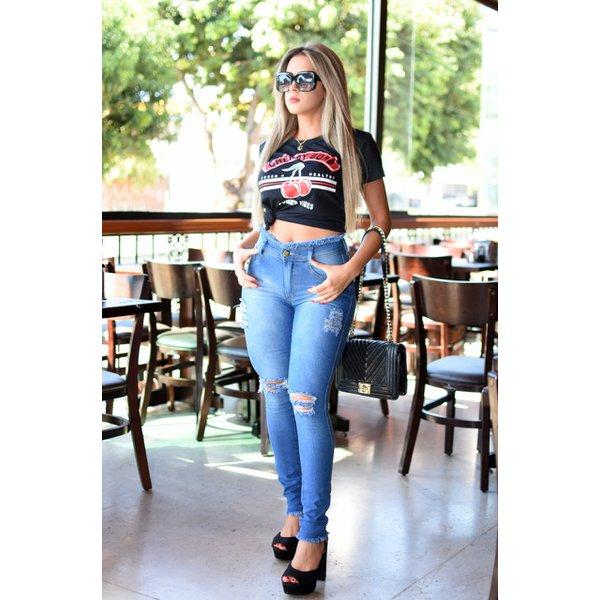 Calça Jeans Destroyed Feminina Cintura Alta Empina Bum Bum Preta