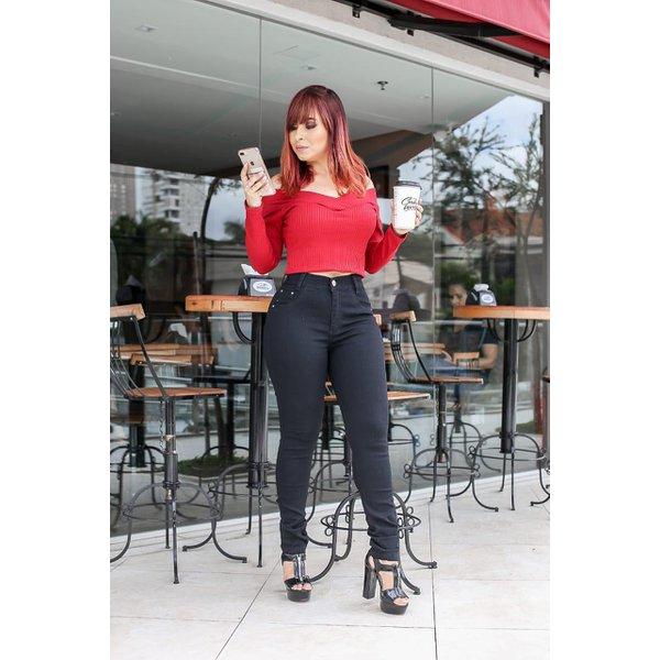 Calça Jeans Feminina Cintura Alta Empina Bum Bum Preta