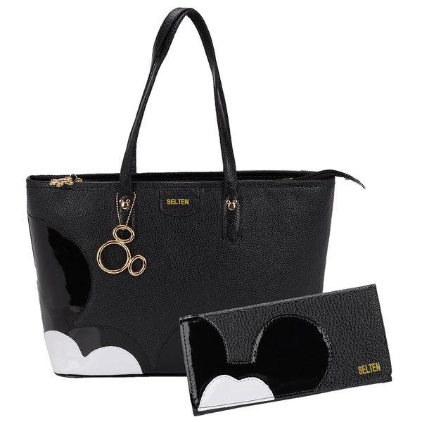 Bolsa + Carteira Mickey G Preta