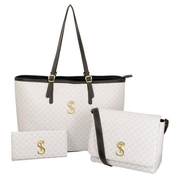 Kit 2 Bolsas Feminina com Carteira Dubai Branca